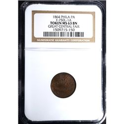 1864 CIVIL WAR TOKEN, PHILA. NGC MS-63 BN