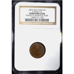 1863 CIVIL WAR TOKEN, NEW YORK NGC MS-63 BN