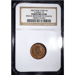 1863 CIVIL WAR TOKEN, NEW YORK, NGC MS-63 RB