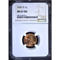 1947-D LINCOLN CENT, NGC MS-67 RED