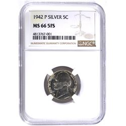 1942-P SILVER JEFFERSON NICKEL NGC MS-66 FS