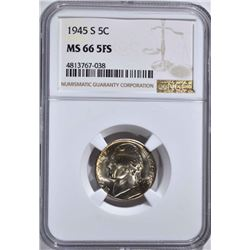 1945-S JEFFERSON NICKEL NGC MS-66 5FS