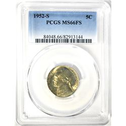1952-S JEFFERSON NICKEL, PCGS MS-66 FULL STEPS