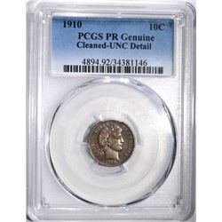 1910 BARBER DIME, PCGS PROOF UNC details
