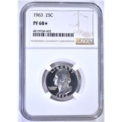1963 WASHINGTON QTR NGC PF68 STAR
