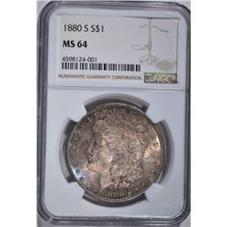 1880-S MORGAN DOLLAR, NGC MS-64