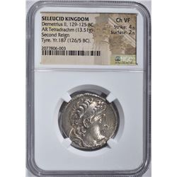 129-125 BC LARGE SILVER TETRADRACHM  NGC CH.VF