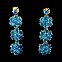 Natural Rare Brazil Aaa Neon Blue Apatite Earrings
