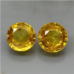 Natural Round Yellow Sapphire Pair 2.05 Cts