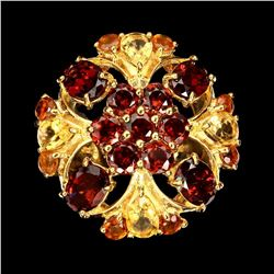 Natural Rich Orange Mozambique Garnet Citrine Ring