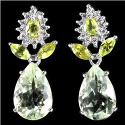 NATURAL AMETHYST APPLE GREEN PERIDOT Earrings