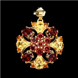 Natural Orange Mozambique Garnet Citrine Pendant