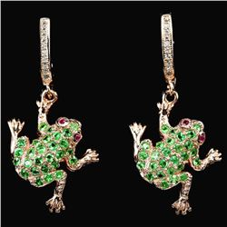 NATURAL GREEN TSAVORITE GARNET FROG EARRING