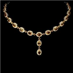 Natural  8x6 MM Top Yellow Citrine 164.93 Cts Necklace