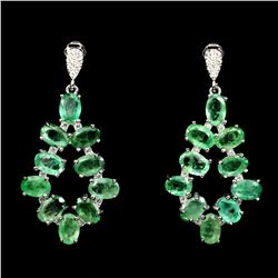Natural Green Emerald 35 Carats Earrings