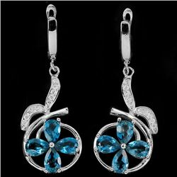 LONDON BLUE TOPAZ & WHITE CZ STERLING silver Earrings