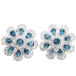 Natural London Blue Topaz Flower Earrings