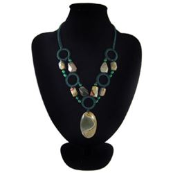 Natural Diamond Polished Stone Hand Made Necklace