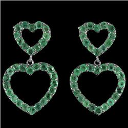 NATURAL AAA GREEN EMERALD Double Hearts Earrings