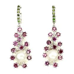 Natural White Pearl Rhodolite Chrome Diopside Earrings