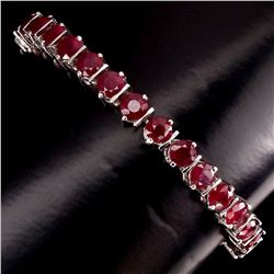 Genuine Round Cut 5mm Top Blood Red Ruby Bracelet