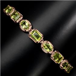 Natural 7x5 mm Top Rich Green Peridot Bracelet