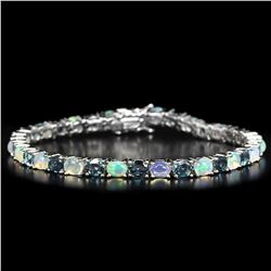 Natural RAINBOW OPAL & LONDON BLUE TOPAZ Bracelet