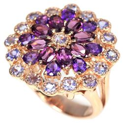 NATURAL RHODOLITE GARNET AMETHYST & TANZANITE Ring