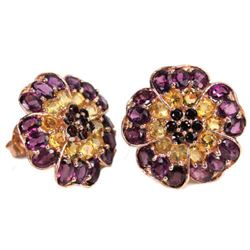 NATURAL MULTI COLOR CITRINE RHODOLITE GARNET Earrings
