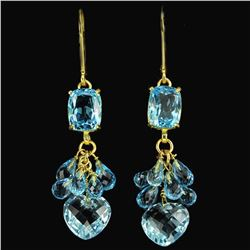 Natural GENUINE AAA SWISS BLUE TOPAZ BRIOLET Earrings