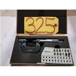 """MITUTOYO 126-901--0 to 1"""" OUTSIDE THREAD PITCH MICROMETER + ANVIL SET"""