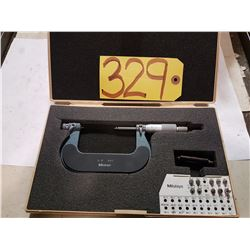 """MITUTOYO 126-139--2"""" to 3"""" OUTSIDE THREAD PITCH MICROMETER + ANVIL SET"""