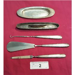 6 Pieces: Sterling Handled Nail File, Shoe Horn, Button Hook, Nail Buffer w/ Oval Tray