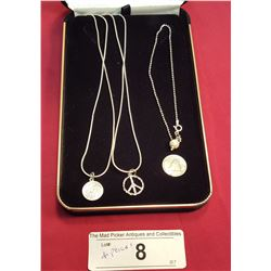 3 Sterling Chains & Pendants & 1 - 1938 Silver Dime