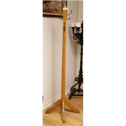 Stand Up Oak Coat Rack