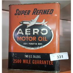 Vintage Aero Motor Oil Can, 2 US Gallons