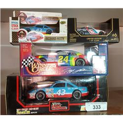 Lot of Vintage Nascar Car Richard Petty, Jeff Gordon, 1/24 Scale, 1/43 Scale, All Boxed x 4