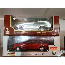 Boxed 1/18 Scale Toyota Land Cruiser, Mercedes E320