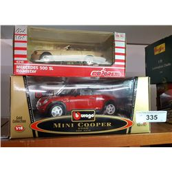 Boxed 1/18 Mini Cooper & 1/24 Scale Mercedes 500SL