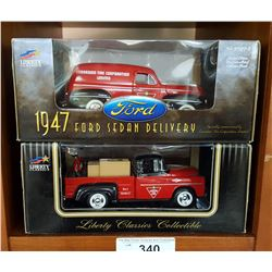 Lot of 2 Mint in Box Diecast Bank Trucks 1/24 Scale, 1957 Dodge Fargo 1947 Ford Canadian Tire