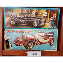 2 Vintage Battery Operated Toy Cars in Boxes