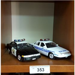 Lot of 2 Mint Condition 1/24 Scale Diecast Police Cars, Crown Victoria Cruisers