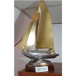 Aluminum, Brass & Wood Sailboat Lamp