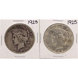 Lot of 1923 & 1925 $1 Peace Silver Dollar Coins