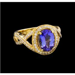 14KT Yellow Gold 2.33 ctw Tanzanite and Diamond Ring