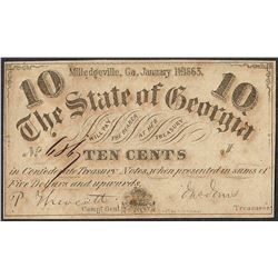 1863 Ten Cents The State of Georgia Obsolete Note