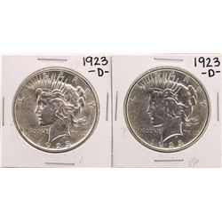 Lot of (2) 1923-D $1 Peace Silver Dollar Coins
