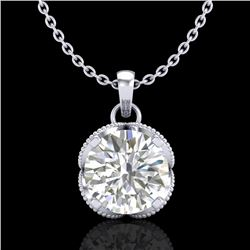1.13 CTW VS/SI Diamond Solitaire Art Deco Stud Necklace 18K White Gold - REF-217M3H - 36863
