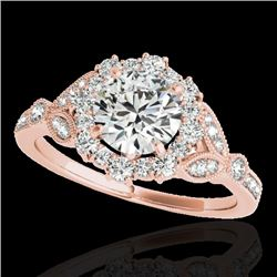 1.5 CTW H-SI/I Certified Diamond Solitaire Halo Ring 10K Rose Gold - REF-174H5A - 33761