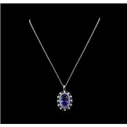 16.62 ctw Tanzanite Pendant With Chain - 14KT White Gold